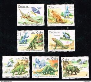 CUBA Sc# 2765-2771  DINOSAURS Prehistoric CPL SET of 7  1985  used / cto