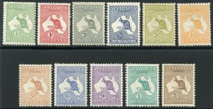 AUSTRALIA KANGAROOS SCOTT #1/11 MINT HINGED WITH REMNANTS  SCOTT vALUE $1339.00