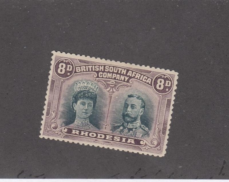RHODESIA # 109 VF-MH 8d DOUBLEHEADS CAT VALUE $190