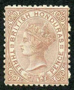 British Honduras SG7 3d Red Brown Wmk crown CC Perf 12.5 MINT