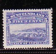 Newfoundland Sc 91a 1910 5c Cupids stamp mint perf 12