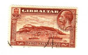Gibraltar Sc 97 1931 1 1/2d  G V & ship stamp used