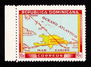 DOMINICAN REPUBLIC 10¢ 1946 SCOTT #421 ⭐ MAP ⭐ MNH-OG