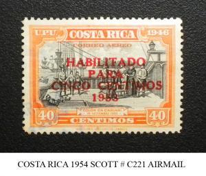 COSTA RICA 1953. SCOTT # C221 . OVERPRINTED. USED