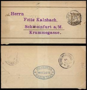 Germany Bavaria 1896 Postal History Rare Postal stationery Wrapper Wurzburg t...