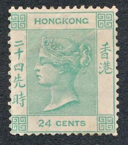 HONG KONG 18, MINT HINGED, 24c VICT , PENCIL ON REVERSE