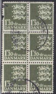 DENMARK SC# 398 BK of 6 USED 1.32k 1965   SEE SCAN