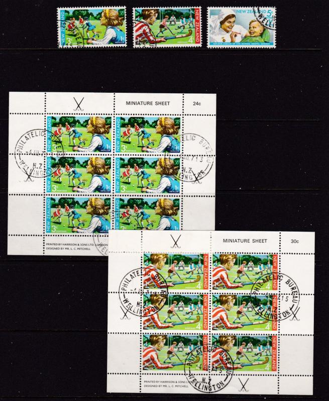 New Zealand the 1971 Health set & mini sheets used (cto)