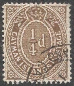 CAYMAN ISLANDS 1908 Sc 31a, used 1/4d, partial cancel