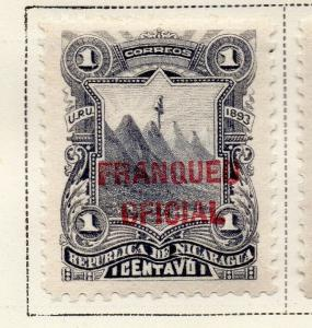 Nicaragua 1893 Early Issue Fine Mint Hinged 1c. Official Optd 323716