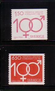 Sweden Sc 1506-7 1984 Womens Rights stamp set mint NH