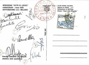 MOUNTAINEERING - Postal History : ITAIAN EXPEDITION to PAKISTAN 1975