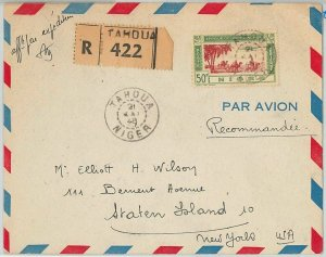 45133 - AOF NIGER -  POSTAL HISTORY: REGISTERED COVER from TAHOUA to USA 1948