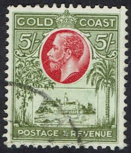 GOLD COAST 1928 KGV CASTLE 5/- USED TOP VALUE