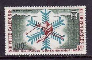 New Caledonia-Sc#C56-Unused NH airmail set-Sports-Olympics-Snow Flake-Skier-Gren