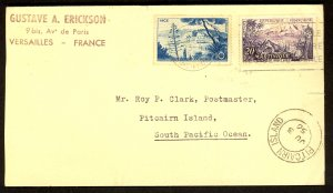 FRANCE 1956 Cover From VERSAILLES to PITCAIRN ISLAND Sc 776,780