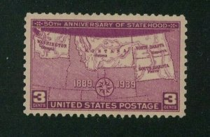 US 1939 3c rose purple 50th Anniversary of Statehood, Scott 858 MH, Value = 35c