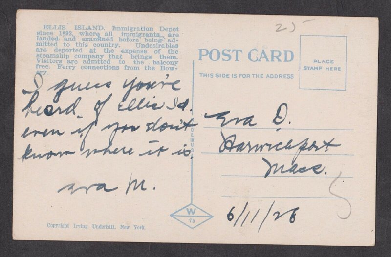 Used Postcard: New York City – Ellis Island Immigration Depot