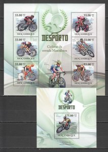 BC1352 2010 MOZAMBIQUE SPORT CYCLING MEN CHAMPIONS LANCE ARMSTRONG 1KB+1BL MNH