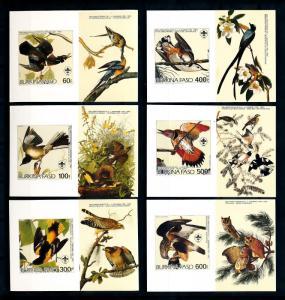 [93808] Burkina Faso 1985 Birds Vögel Audubon 6 Imperf. Single Sheets MNH