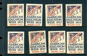 8 VINTAGE 1937 AMERICAN EDUCATION WEEK VISIT YOUR SCHOOLS POSTER STAMPS (L572)
