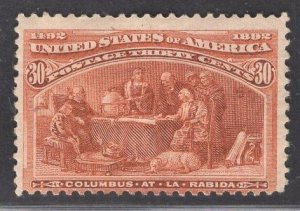US Stamp #239 30c Orange Brown Columbus at La Rabida MINT HINGED SCV $225.00
