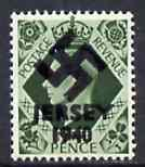 Jersey 1940 Swastika opt on Great Britain KG6 9d olive-green