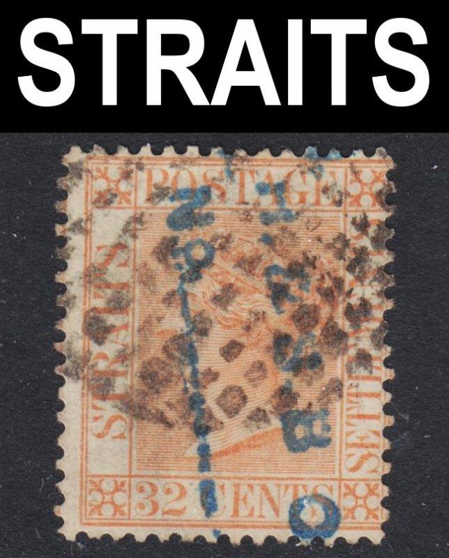 Malaya Straits Settlements Scott 17 wtmk CC Fine used. Bamboo cancel.