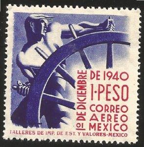J) 1940 MEXICO, MAN AT HELM, SCOTT C116, 1 PESO, MNH