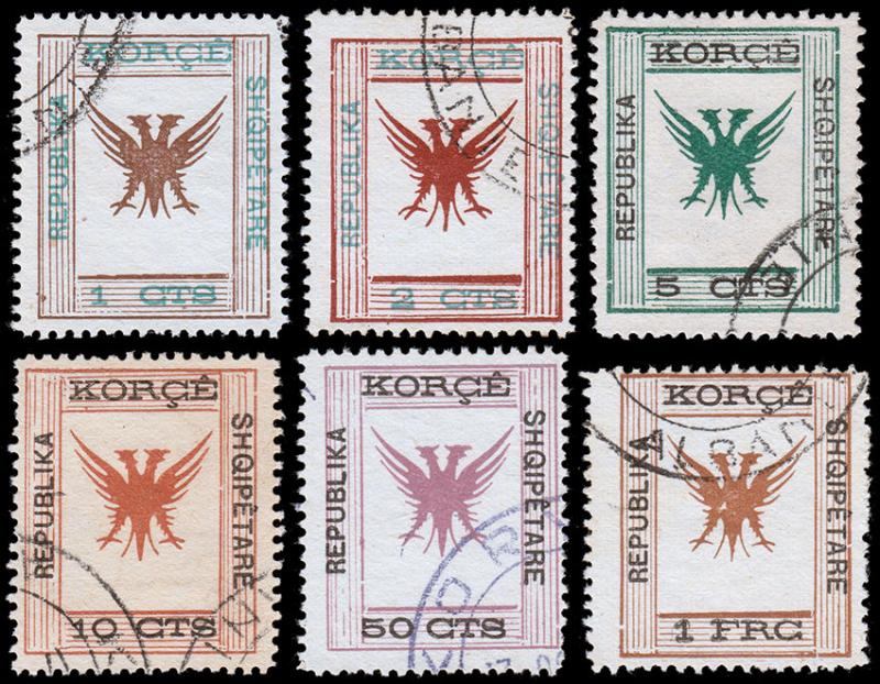 Albania Scott 62-63, 65-68 (1917-18) Used H F-VF, CV $36.80