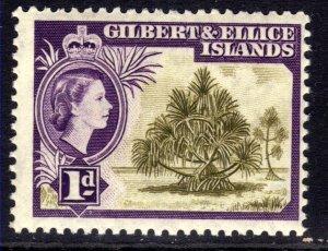 Gilbert & Ellice Islands 1956 - 62 QE2 1d Pandanus Pine Umm SG 65 ( K877 )