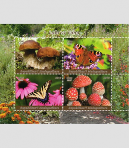 Mushrooms & Butterflies Sheet Perforated Mint (NH)