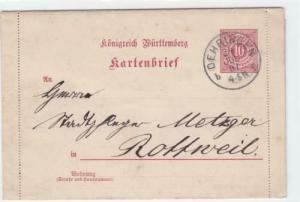 germany  wurttemburg 1901  stamps letter card   ref r14362