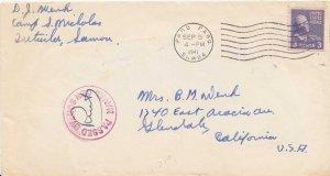 American Samoa 3c Jefferson Prexie 1935 Pago Pago, Samoa to Glendale, Calif. ...