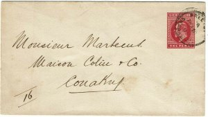 Sierra Leone 1903 Freetown cancel on stationery envelope to FRENCH GUINEA