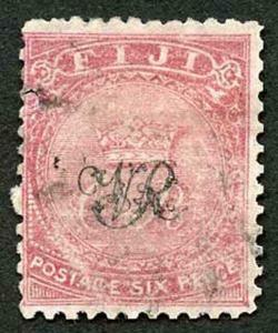 Fiji SG33 6d Rose on laid paper (small fault)