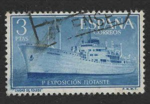 SPAIN Scott 848 Used Ciudad de Toledo ship stamp 1956