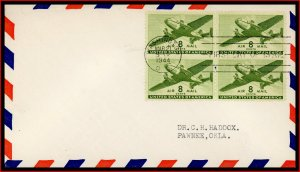 US FDC #C26 8c Twin-Motored Transport Plane - No Cachet