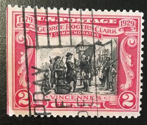 651 George Rogers Clark, Vincennes, circulated single, NH, Vic's Stamp Stash