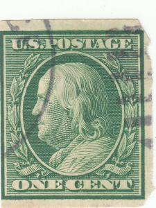 Scott #343 - 1c Green - Franklin - Imperf  - Used