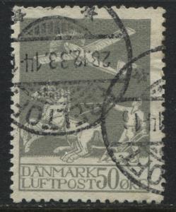 Denmark 1929 50 ore gray Airmail used (JD)