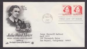2176 Julia Ward Howe ArtCraft FDC with neatly typewritten address