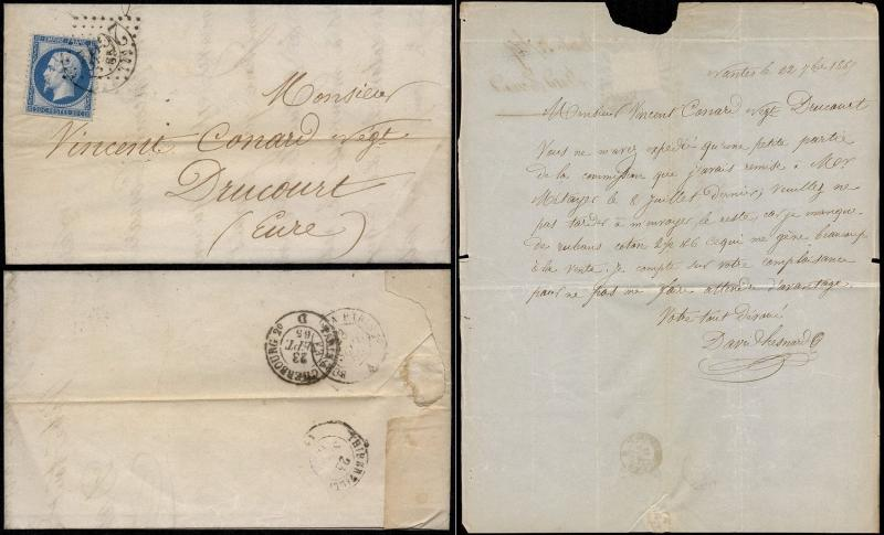 France 1863 Postal History Rare Cover + Content Nantes to Drucourt Railroad c...