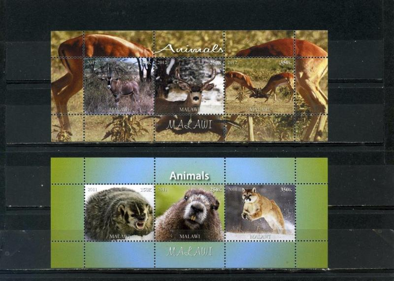 MALAWI 2011-2012 FAUNA WILD ANIMALS 2 SHEETS OF 3 STAMPS MNH