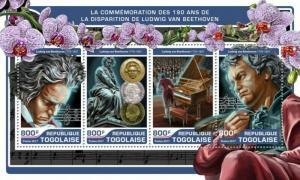 Togo - 2017 Ludwig van Beethoven - 4 Stamp Sheet - TG17213a