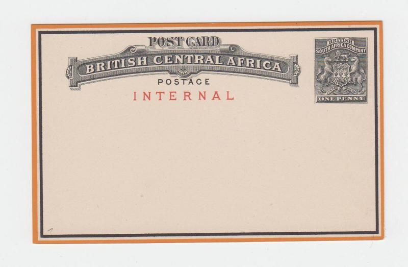 BRITISH CENTRAL AFRICA 1d INTERNAL POST CARD UNUSED H&G#1 (SEE BELOW)