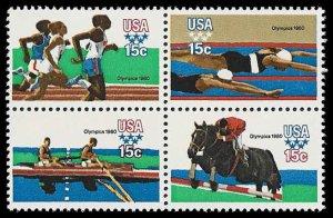 PCBstamps     US #1791/1794a Block 60c(4x15c)Summer Olympics, MNH, (14)