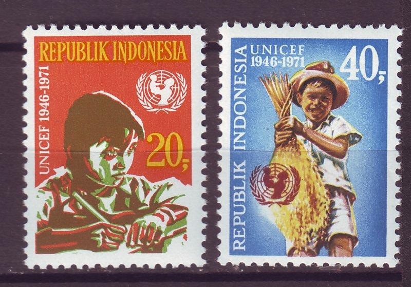 J25022 JLstamps 1971 indonesia set mnh #808-9 unicef