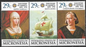 1992 Micronesia 151 Discovery Of America 500th Anniversary MNH strip of 3