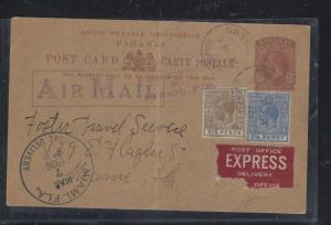 BAHAMAS  COVER (PP1709B) 1936 1 1/2D PSC+2 1/2D+6D TO USA, CARD HAS BEEN FOLDED